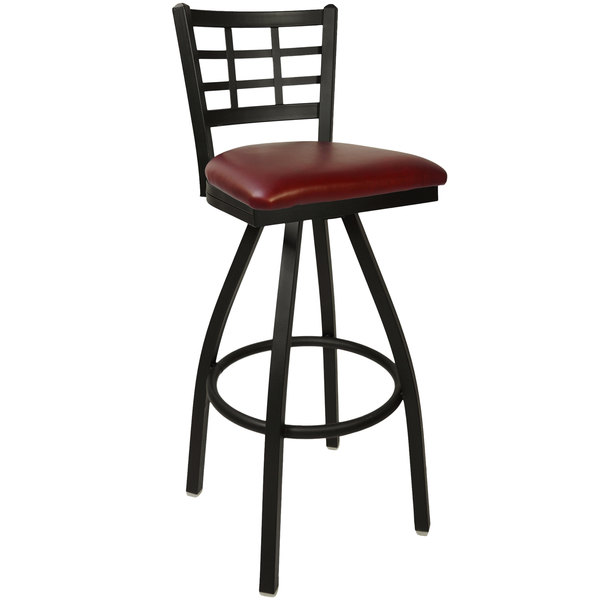 "BFM Seating 2163SBUV-SB Marietta Sand Black Steel Bar Height Chair with 2"" Burgundy Vinyl Swivel Seat"