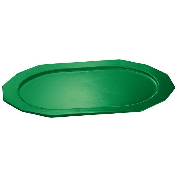 """Tablecraft CW1787GN 14"""" x 10"""" Green Cast Aluminum Prism Platter"""
