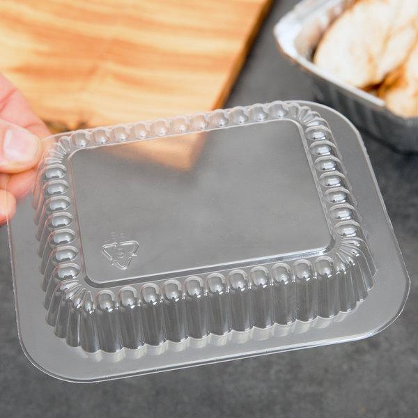 Clear Dome Lid for 1 lb. Oblong Foil Pan - 1000/Case