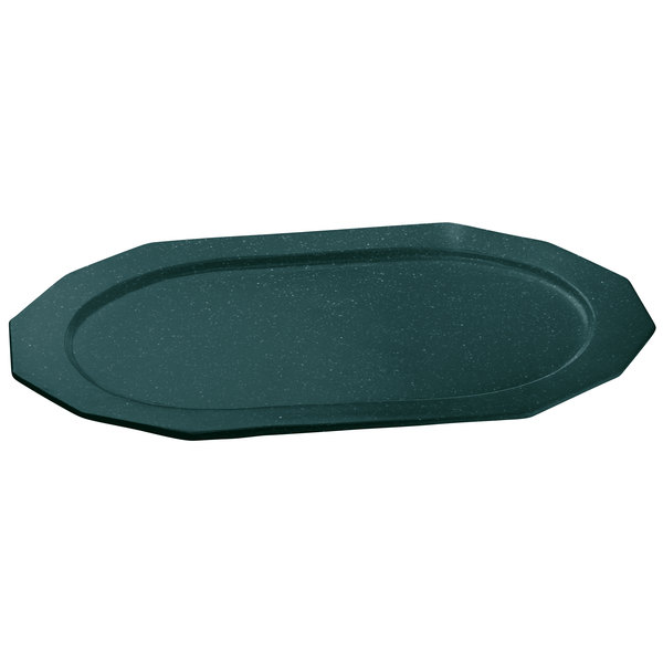 "Tablecraft CW1787HGNS 14"" x 10"" Hunter Green with White Speckle Cast Aluminum Prism Platter"