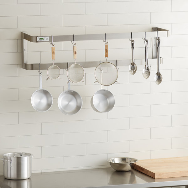 """Regency 48"""" Stainless Steel Wall Mounted Double Line Pot Rack with 18 Galvanized Double Prong Hooks Main Image 3"""