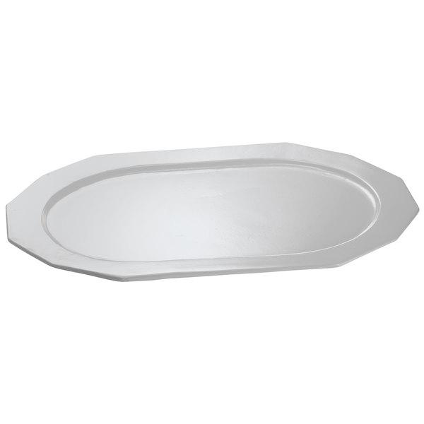 "Tablecraft CW1787GY 14"" x 10"" Gray Cast Aluminum Prism Platter"