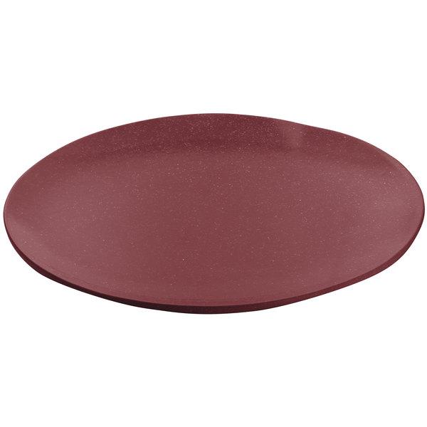 "Tablecraft CW3320MAS 9"" Maroon Speckle Cast Aluminum Round Flat Platter"