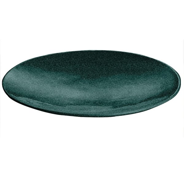 """Tablecraft CW11009HGNS 20"""" x 3 1/2"""" Hunter Green with White Speckle Cast Aluminum Round Flared Platter"""
