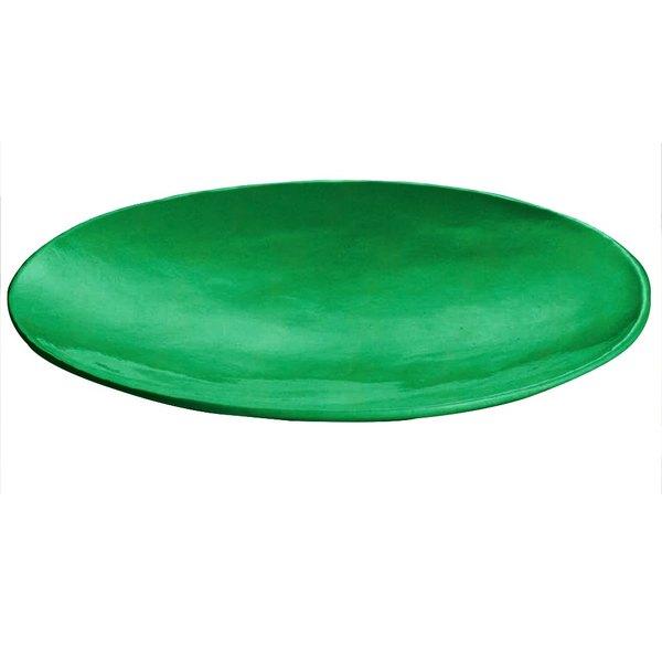 """Tablecraft CW11009GN 20"""" x 3 1/2"""" Green Cast Aluminum Round Flared Platter"""