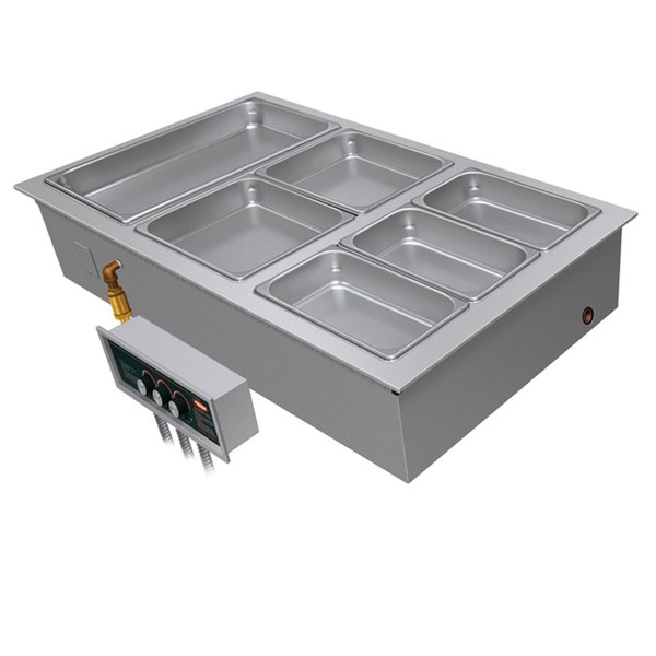 "Hatco HWBI-2M Two Compartment Modular / Ganged Drop In Hot Food Well with 1"" Manifold Drain - 240V, 1 Phase"
