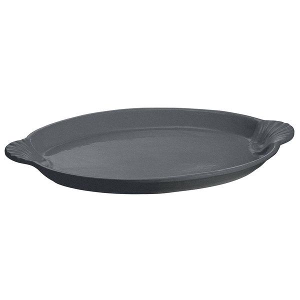 "Tablecraft CW3020GR 17"" x 12"" Granite Cast Aluminum Oval Shell Platter"