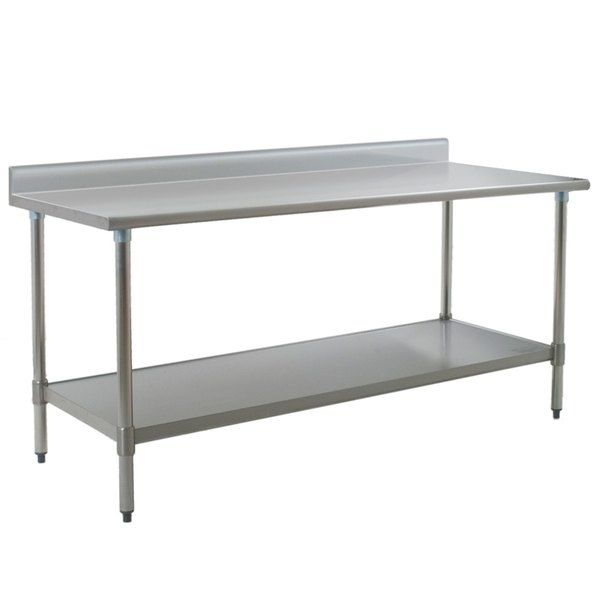 "Eagle Group T3084SB-BS 30"" x 84"" Stainless Steel Work Table with Undershelf and 4 1/2"" Backsplash"