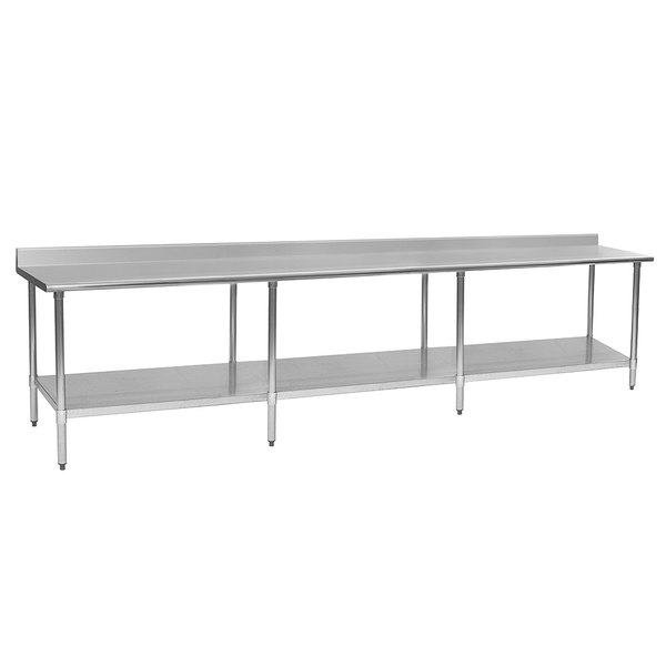 """Eagle Group T30132SEB-BS 30"""" x 132"""" Stainless Steel Work Table with Undershelf and 4 1/2"""" Backsplash"""