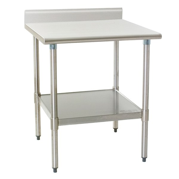 """Eagle Group T3036SB-BS 30"""" x 36"""" Stainless Steel Work Table with Undershelf and 4 1/2"""" Backsplash"""