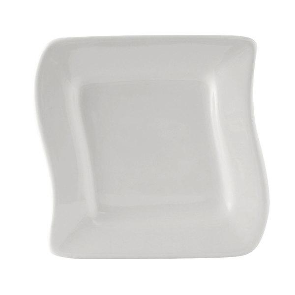 "Tuxton BWZ-063C DuraTux 6 5/8"" x 6 3/8"" White China Wave Plate - 12/Case"