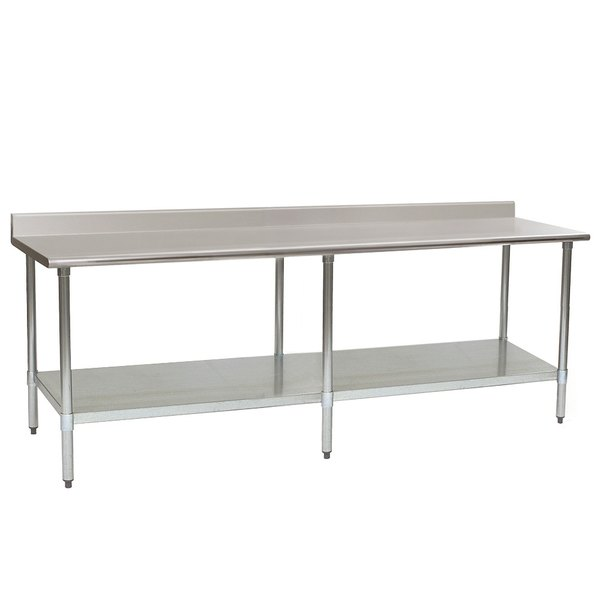 "Eagle Group T24108SB-BS 24"" x 108"" Stainless Steel Work Table with Undershelf and 4 1/2"" Backsplash"