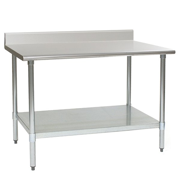 """Eagle Group T3060SE-BS 30"""" x 60"""" Stainless Steel Work Table with Undershelf and 4 1/2"""" Backsplash"""