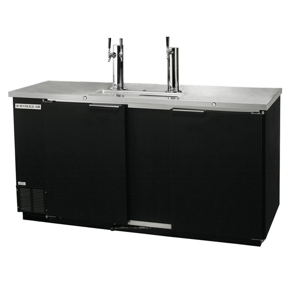 Beverage-Air DD58R-1-B 1 Single and 1 Double Tap Kegerator Beer Dispenser, Remote Condenser - Black, (3) 1/2 Keg Capacity Main Image 1