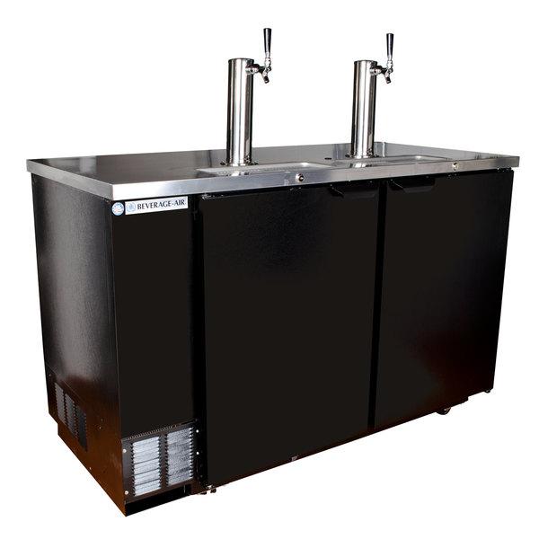 Beverage-Air DD58R-1-B 1 Single and 1 Double Tap Kegerator Beer Dispenser, Remote Condenser - Black, (3) 1/2 Keg Capacity