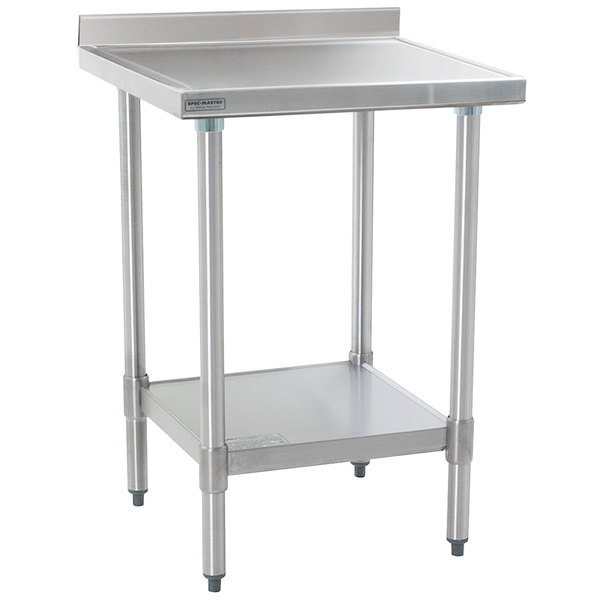 "Eagle Group T3030SEM-BS 30"" x 30"" Stainless Steel Work Table with Undershelf and 4 1/2"" Backsplash"