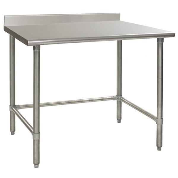 """Eagle Group T2448GTEB-BS 24"""" x 48"""" Open Base Stainless Steel Commercial Work Table with 4 1/2"""" Backsplash"""