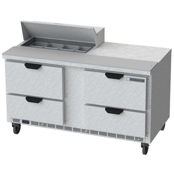 """Beverage Air SPED60HC-08-4 60"""" 4 Drawer Refrigerated Sandwich Prep Table"""