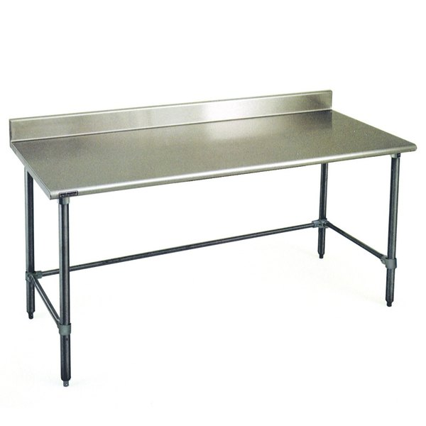 """Eagle Group T2472GTEB-BS 24"""" x 72"""" Open Base Stainless Steel Commercial Work Table with 4 1/2"""" Backsplash"""
