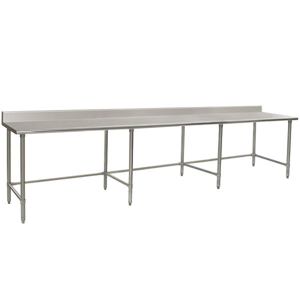 """Eagle Group T30132GTB-BS 30"""" x 132"""" Open Base Stainless Steel Commercial Work Table with 4 1/2"""" Backsplash"""
