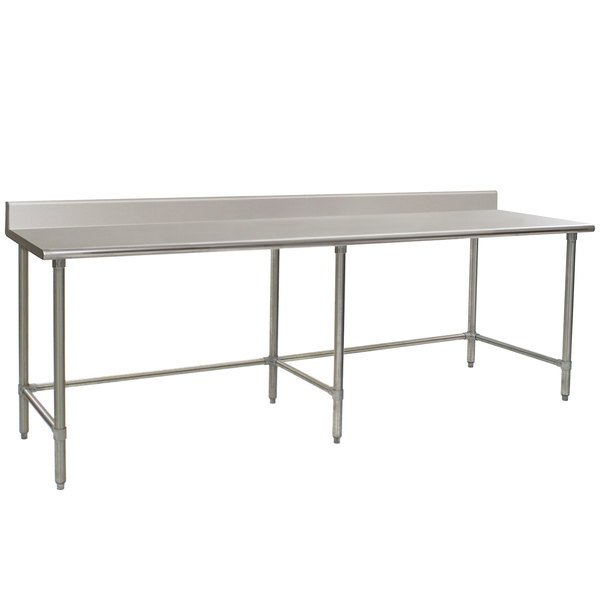"""Eagle Group T3096GTEB-BS 30"""" x 96"""" Open Base Stainless Steel Commercial Work Table with 4 1/2"""" Backsplash"""