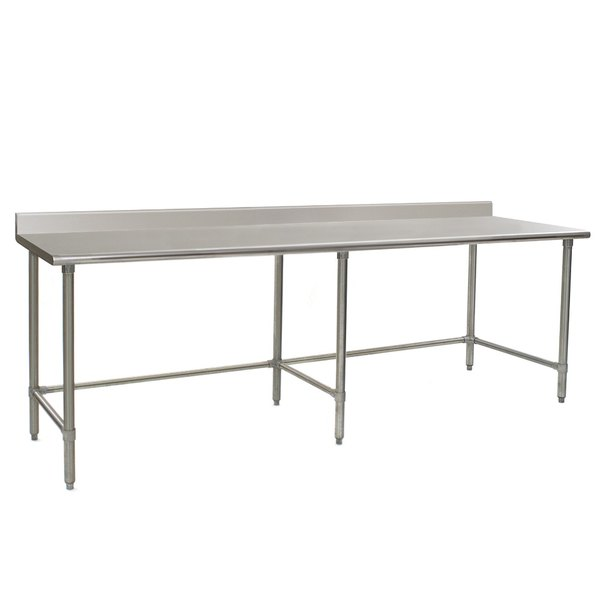 """Eagle Group T36120GTE-BS 36"""" x 120"""" Open Base Stainless Steel Commercial Work Table with 4 1/2"""" Backsplash"""