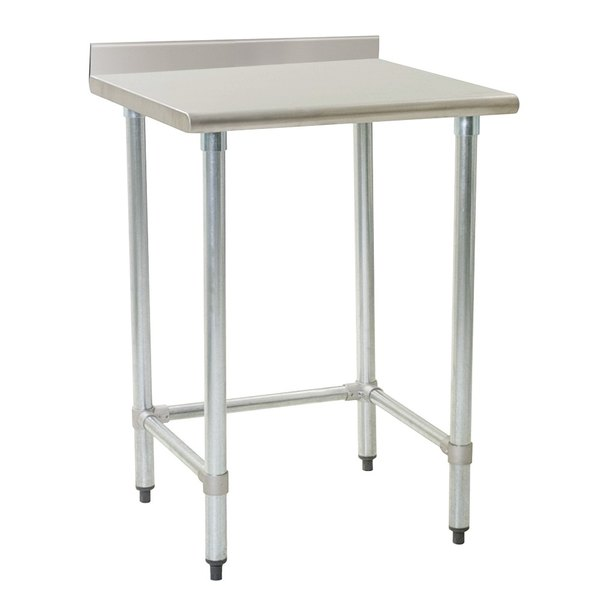 """Eagle Group T2436GTE-BS 24"""" x 36"""" Open Base Stainless Steel Commercial Work Table with 4 1/2"""" Backsplash Main Image 1"""