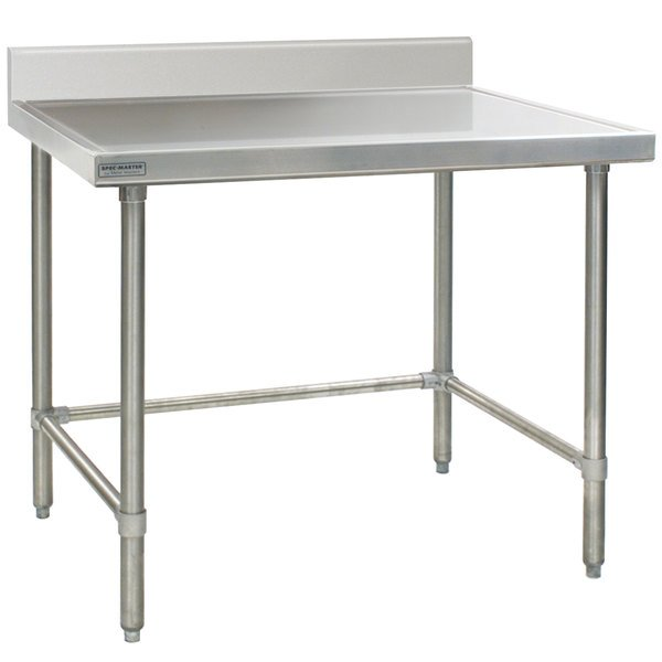 """Eagle Group T3036STEM-BS 30"""" x 36"""" Open Base Stainless Steel Commercial Work Table with 4 1/2"""" Backsplash"""