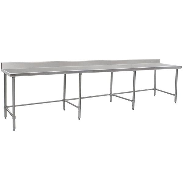 "Eagle Group T30132GTEM-BS 30"" x 132"" Open Base Stainless Steel Commercial Work Table with 4 1/2"" Backsplash"