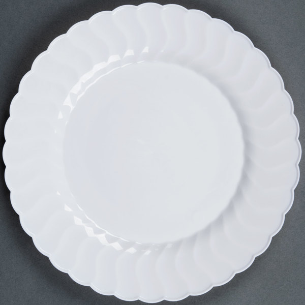 Fineline Flairware White 209-WH 9 inch Plastic Plate - 18 / Pack