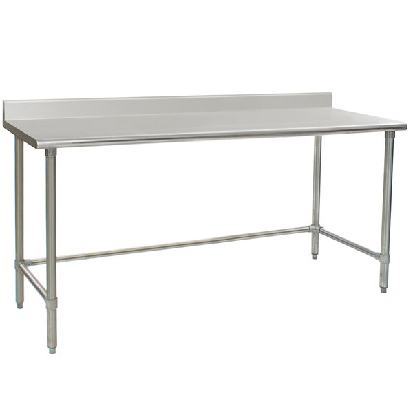 """Eagle Group T2472STE-BS 24"""" x 72"""" Open Base Stainless Steel Commercial Work Table with 4 1/2"""" Backsplash"""