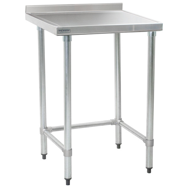 """Eagle Group T3030STEM-BS 30"""" x 30"""" Open Base Stainless Steel Commercial Work Table with 4 1/2"""" Backsplash"""