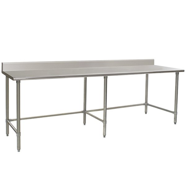 """Eagle Group T3096STEB-BS 30"""" x 96"""" Open Base Stainless Steel Commercial Work Table with 4 1/2"""" Backsplash"""
