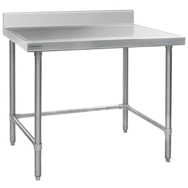 """Eagle Group T3048STEM-BS 30"""" x 48"""" Open Base Stainless Steel Commercial Work Table with 4 1/2"""" Backsplash"""