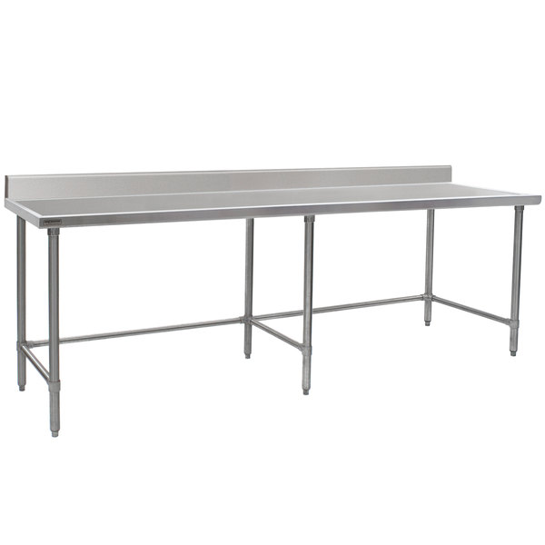 """Eagle Group T30108GTEM-BS 30"""" x 108"""" Open Base Stainless Steel Commercial Work Table with 4 1/2"""" Backsplash"""