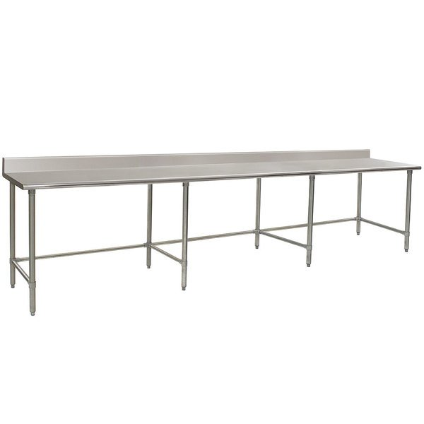 """Eagle Group T30144STEB-BS 30"""" x 144"""" Open Base Stainless Steel Commercial Work Table with 4 1/2"""" Backsplash"""
