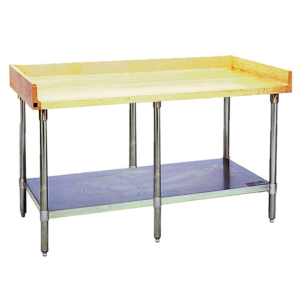 "Eagle Group MT3096B-BS Wood Top Work Table with Galvanized Undershelf and 4"" Backsplash - 30"" x 96"" Main Image 1"