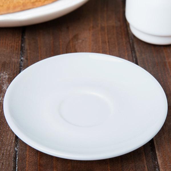 "Arcoroc 22670 Opal Restaurant White 4 3/8"" Saucer by Arc Cardinal - 48/Case"