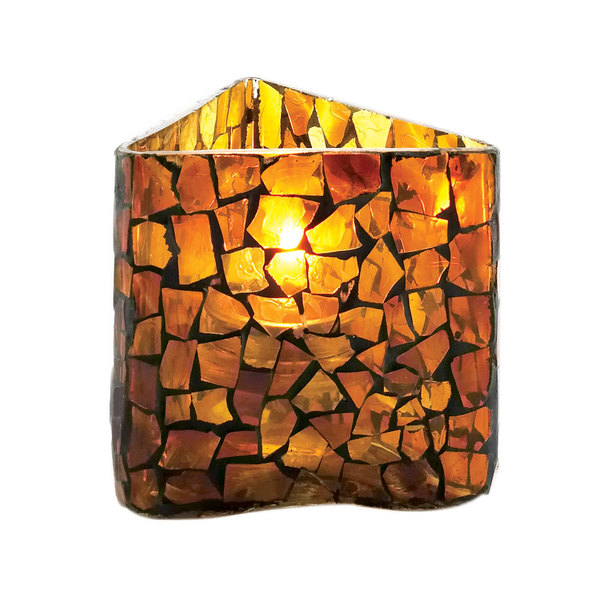 """Sterno Products 80206 3 1/2"""" Amber Mosaic Triangle Votive Liquid Candle Holder"""