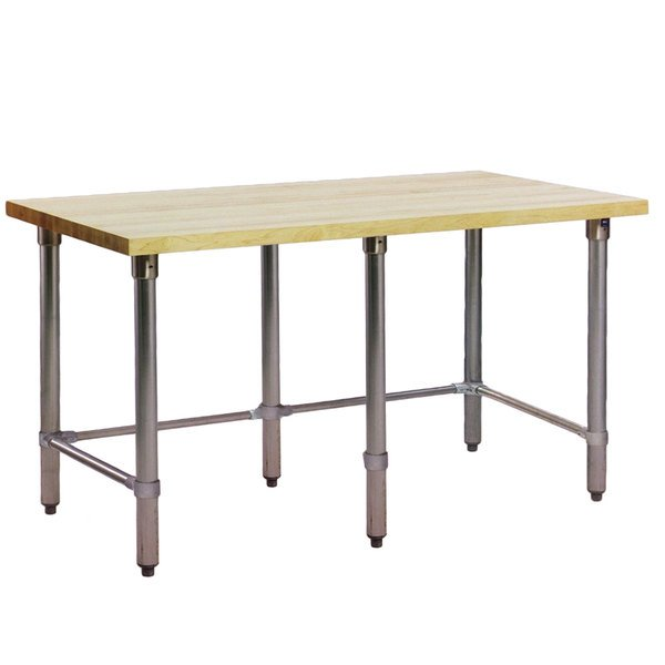 "Eagle Group MT2448ST Wood Top Work Table with Stainless Steel Base - 24"" x 48"""