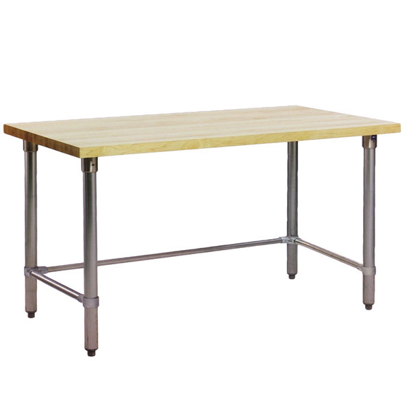 """Eagle Group MT3072ST Wood Top Work Table with Stainless Steel Base - 30"""" x 72"""""""