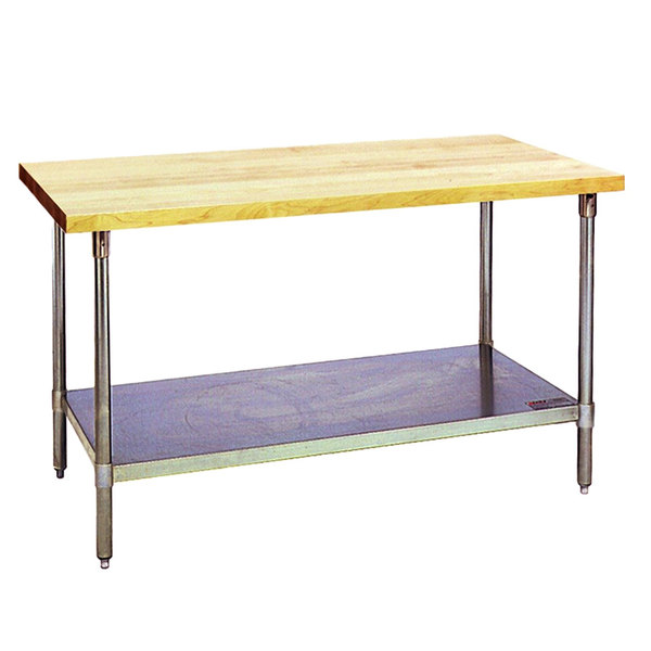 """Eagle Group MT3072S Wood Top Work Table with Stainless Steel Base and Undershelf - 30"""" x 72"""""""