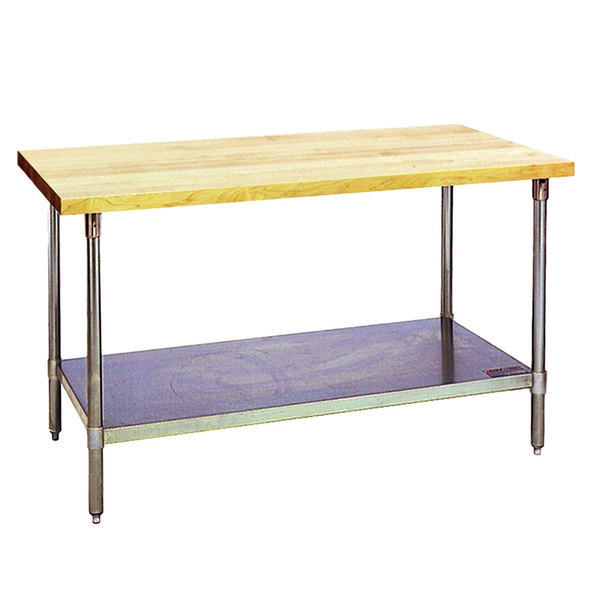 """Eagle Group MT3048B Wood Top Work Table with Galvanized Base and Undershelf - 30"""" x 48"""" Main Image 1"""