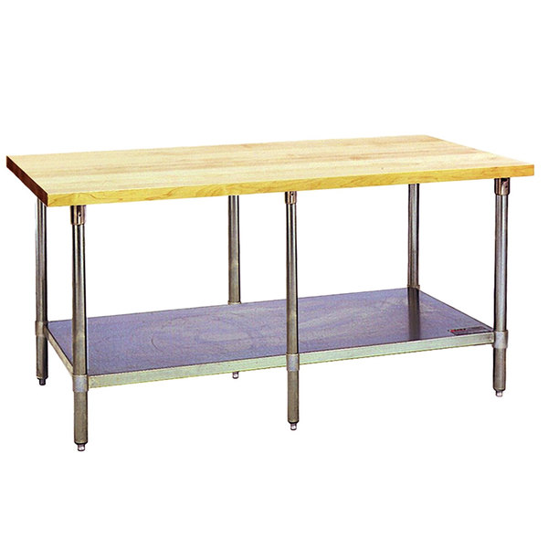 "Eagle Group MT3096S Wood Top Work Table with Stainless Steel Base and Undershelf - 30"" x 96"""