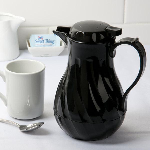 Choice 42 oz. Black Swirl Thermal Coffee Carafe / Server Main Image 3