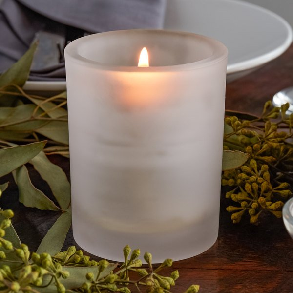 "Sterno Products 80268 3 5/16"" Petite Frost Glass Votive Liquid Candle Holder"