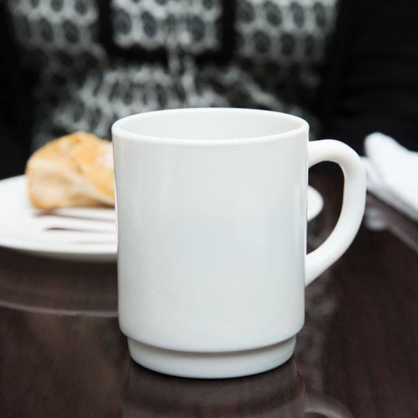 Arcoroc 36140 Opal Restaurant White Stacking Mug by Arc Cardinal - 36/Case