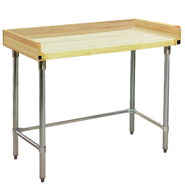 """Eagle Group MT3060GT-BS Wood Top Work Table with Galvanized Base and 4"""" Backsplash - 30"""" x 60"""""""