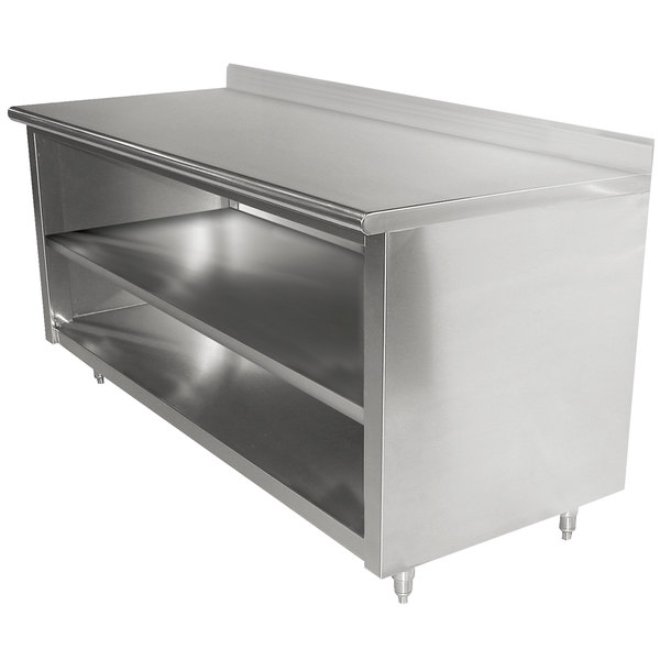"""Advance Tabco EK-SS-366M 36"""" x 72"""" 14 Gauge Open Front Cabinet Base Work Table with Fixed Midshelf and 5"""" Backsplash"""
