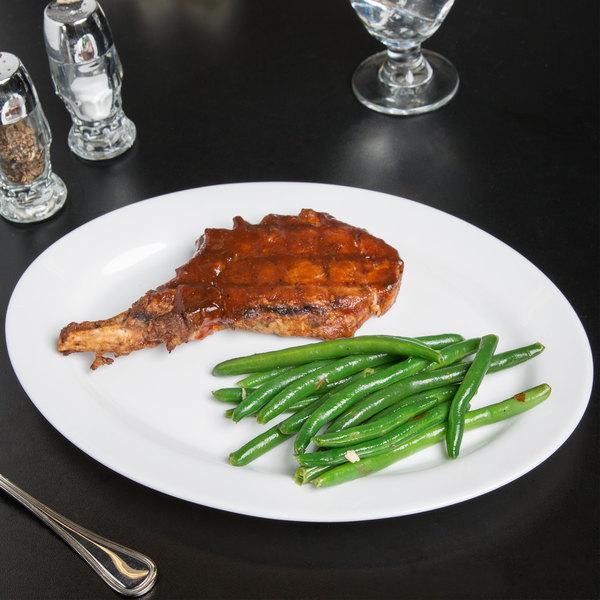 "Arcoroc 67107 Opal Restaurant White 12 1/2"" Oval Platter by Arc Cardinal - 24/Case"